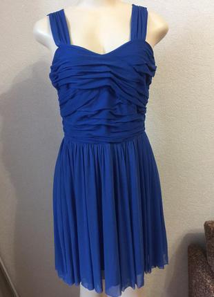 Синее короткое коктейльное платье  выпускное вечернее размер с new look