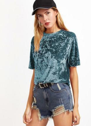 Бархатная кофта футболка топ размер xs-s