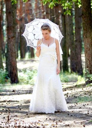 Кружевное свадебное платье и длинная фата, цветочная вышивка, цвет молочный, айвори 💍💐