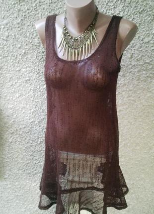 Майка в сетку с воланом(баской)по низу,платье,туника пляжная , dotti