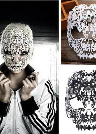 Ажурная маска череп из металла санта муэрте хеллоуин