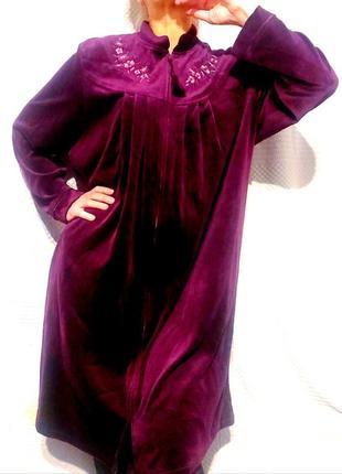 Шикарный велюровый женский халат, большой размер.