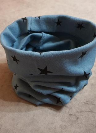 Новый детский шарф-снуд (бафф) темно-бирюзового цвета с принтом звездочки