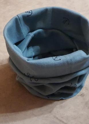 Новый детский шарф-снуд (бафф) темно-бирюзового цвета с морским принтом