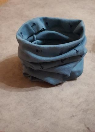 Новый детский шарф-снуд (бафф) темно-бирюзового цвета с принтом рыбки