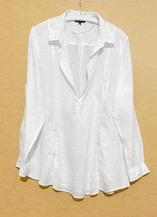 Льняная пляжная свободная рубашка туника лен размер 46