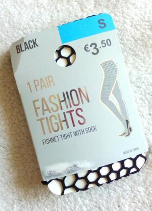 Чёрные колготки в среднюю сетку с носочками 🔥скидка до 25.10❗