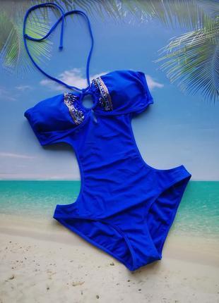 Синий монокини купальник