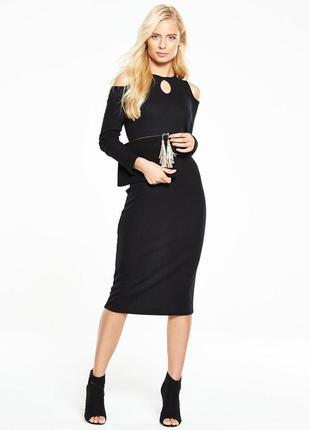Платье миди в рубчик с открытыми плечами и длинным рукавом by very