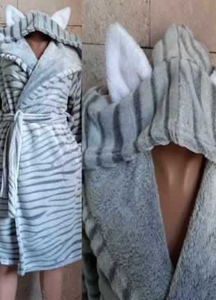Халат теплый махровый с капюшоном ушками для девочки шиншилла