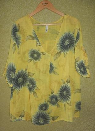 Трендовая натуральная блуза рубашка италия