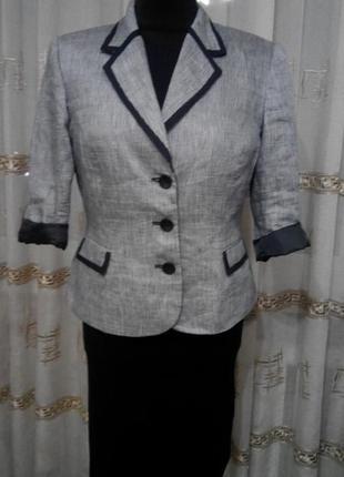 Актуальный льняной пиджак жакет в полоску лён