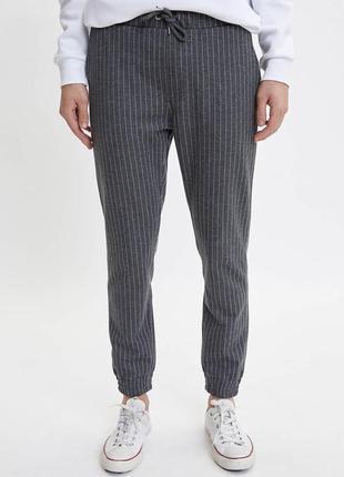 Брюки зауженные штаны серые в полоску