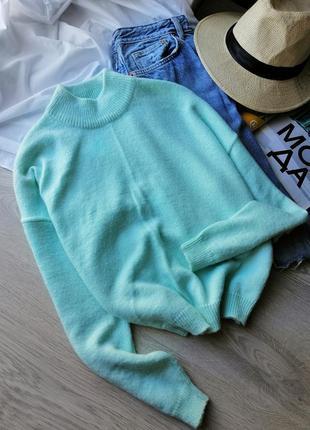Укороченный мятный свитер оверсайз