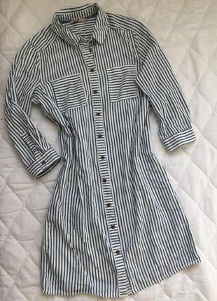Платье рубашка tu хлопок белое в синюю полоску s\m
