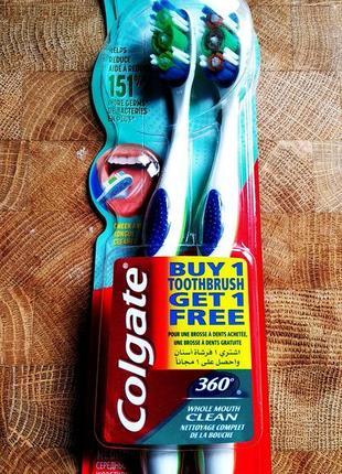 Багатофункціональна антибактеріальна зубна щітка colgate 360 , середньої жорсткості, 1 + 1