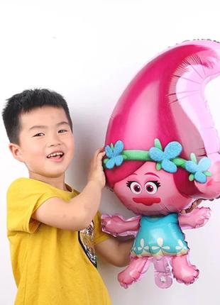 Большой воздушный шар тролли trolls розочка 75 см