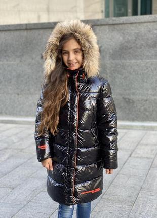 Новинка! шикарный зимний пуховик девочке6 фото