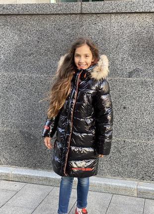 Новинка! шикарный зимний пуховик девочке7 фото