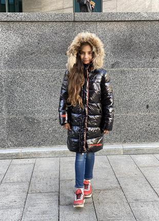 Новинка! шикарный зимний пуховик девочке9 фото