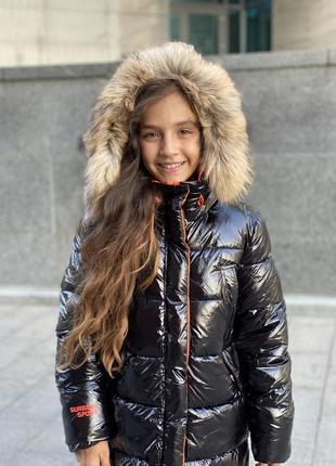 Новинка! шикарный зимний пуховик девочке8 фото