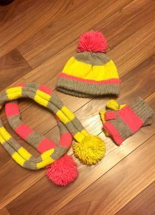 Набір шапка шарф і рукавиці