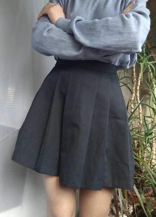 Юбка плисе • аниме школьная плотная черная школьница панк гранж короткая мини солнце