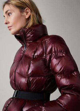 Massimo dutti пуховая куртка c поясом размер с