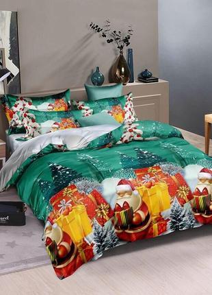 Новогодний полуторный комплект постельного белья ранфорс