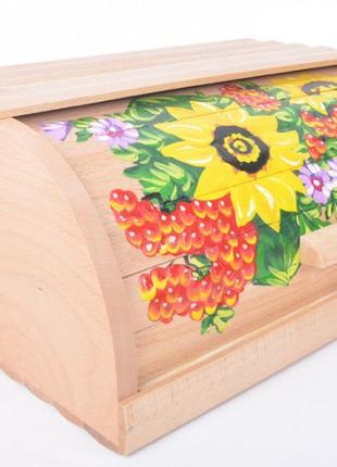 Деревянная хлебница с рисунком