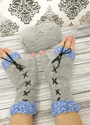 Женские митенки - перчатки без пальцев - митенки в подарок - вязаные варежки