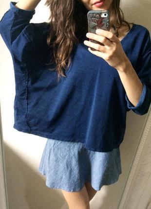 Оверсайз темно-синий свитер кофта свободного кроя