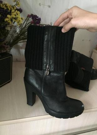 Кожаные ботинки сапоги на толстом каблуке