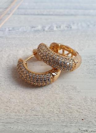 Серьги с камнями xuping, позолота 18к, медицинское золото, бижутерия