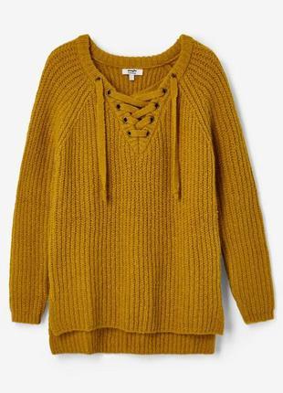 Удлиненный теплый вязаный горчичный свитер джемпер jennyfer