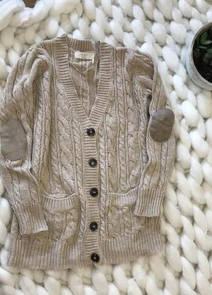 Кардиган кофта свитер с карманами вязаный теплый с карманами пуговицами