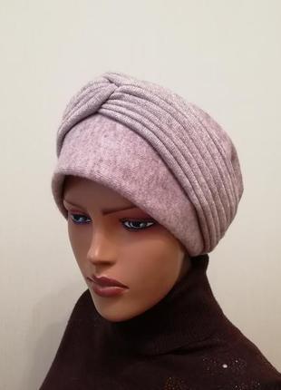 Красивая чалма шапка 56-58 голубой +серый
