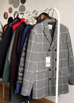 Пальто в клетку,укорочённое мужское пальто