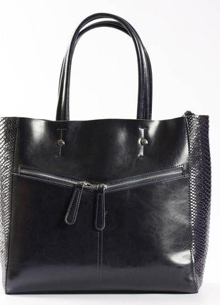 """Кожаная женская вместительная сумка с тиснением """"иветта dark blue"""""""
