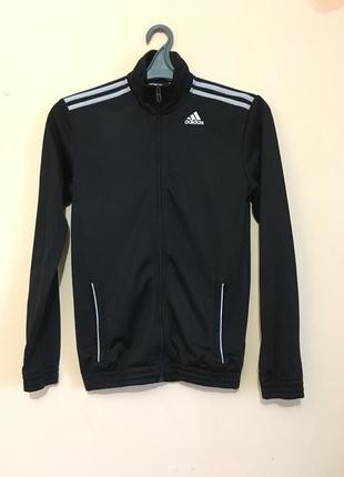Чорна спортивна кофта свитер на замку adidas