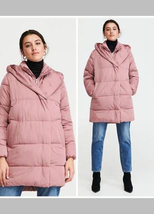 Пыльная роза оверсайз куртка кокон миди пальто
