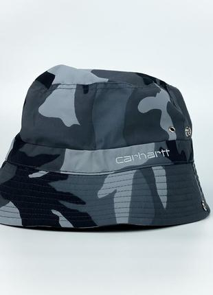 Панама утеплённая carhartt camo print bucket hat in blue/grey with fleece lining