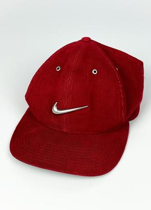 Кепка vintage 90s nike corduroy cap with chrome swoosh logo