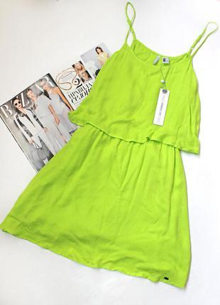 Яркое желтое зеленое платье с открытой спиной o'neil,  размер l можно на м и даже s