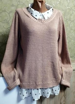 Двойной свитер обманка на пышную красу