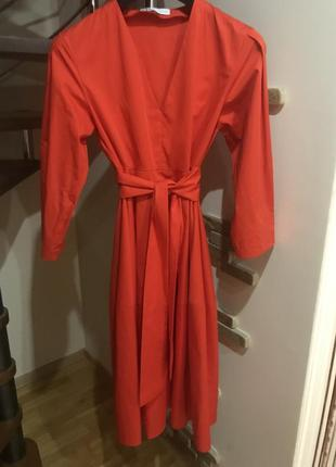 Супер красивое натуральное красное с поясом платье зара италия