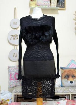 Платье с вставками меха кролика