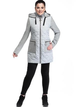 Женская комбинированная  куртка р 48 - 58  плащевая ткань эми + пальтовая шерсть