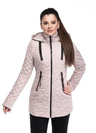 Женская удлинённая стёганная куртка с капюшоном р 46 - 56