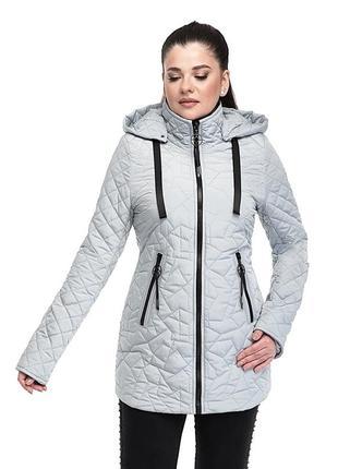 Удлинённая женская стёганная куртка р 46 - 56
